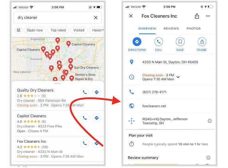 Google map search