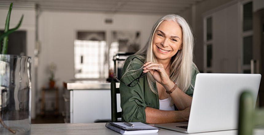 Senior woman on computer